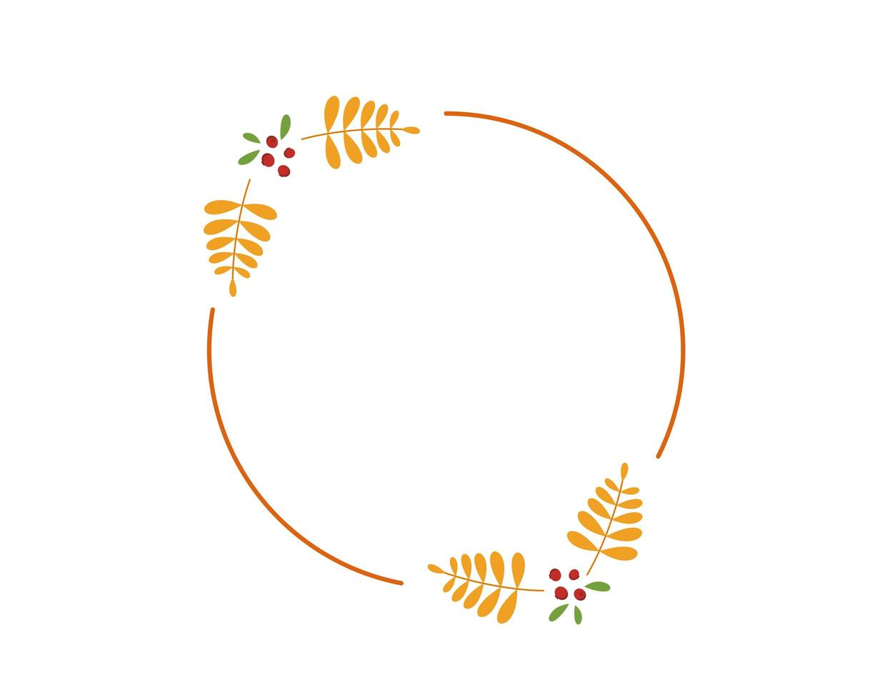 autumn round frame with yellow rowan leaves vector