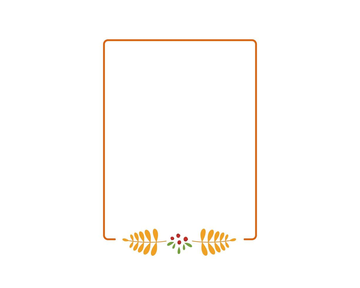 autumn square frame with yellow rowan leaves vector