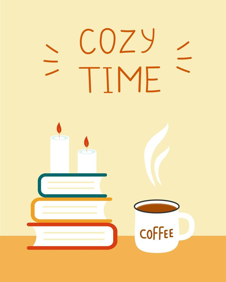card cozy time. books and coffee vector