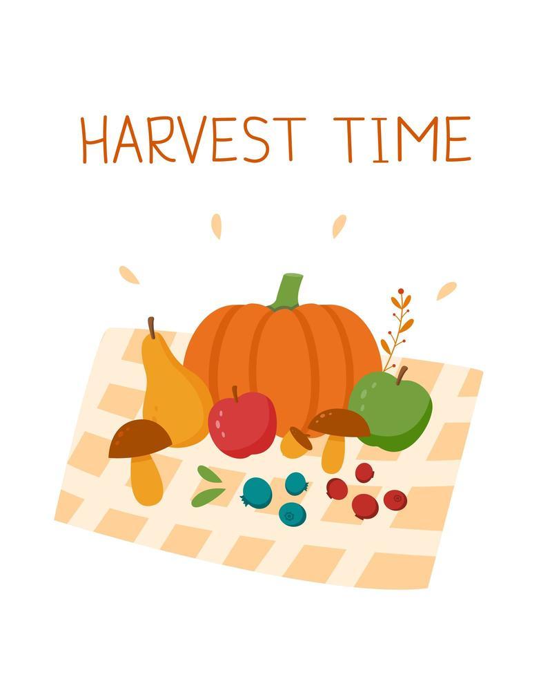 harvest time postcard. vegetables, fruits and leaves vector