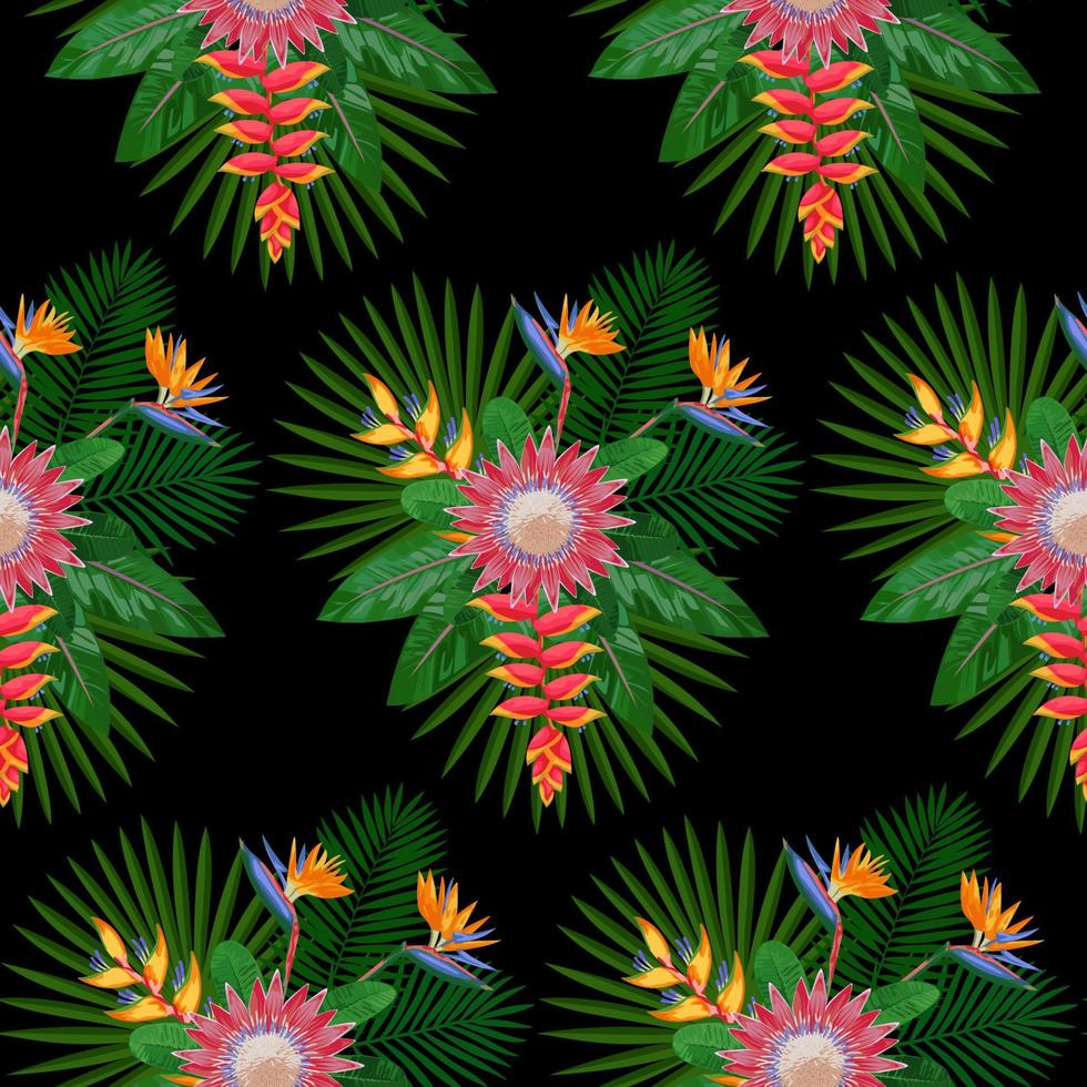 Tropical Seamless Pattern with Protea vector