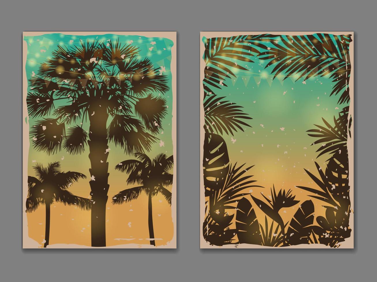 Tropic Vintage Posters templates set vector