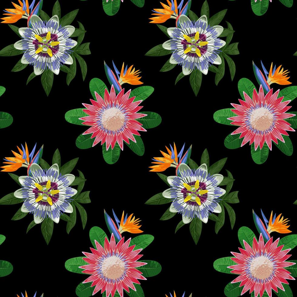 Seamless Pattern with Tropical Flowers vector
