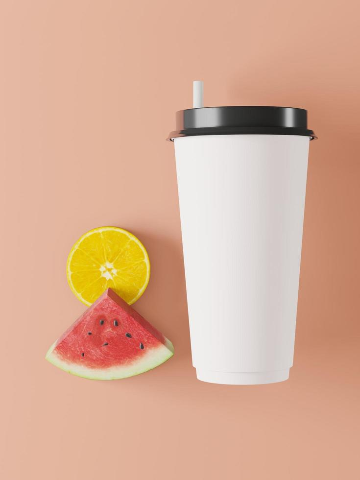 Glass for juice on pink background, 3d photo