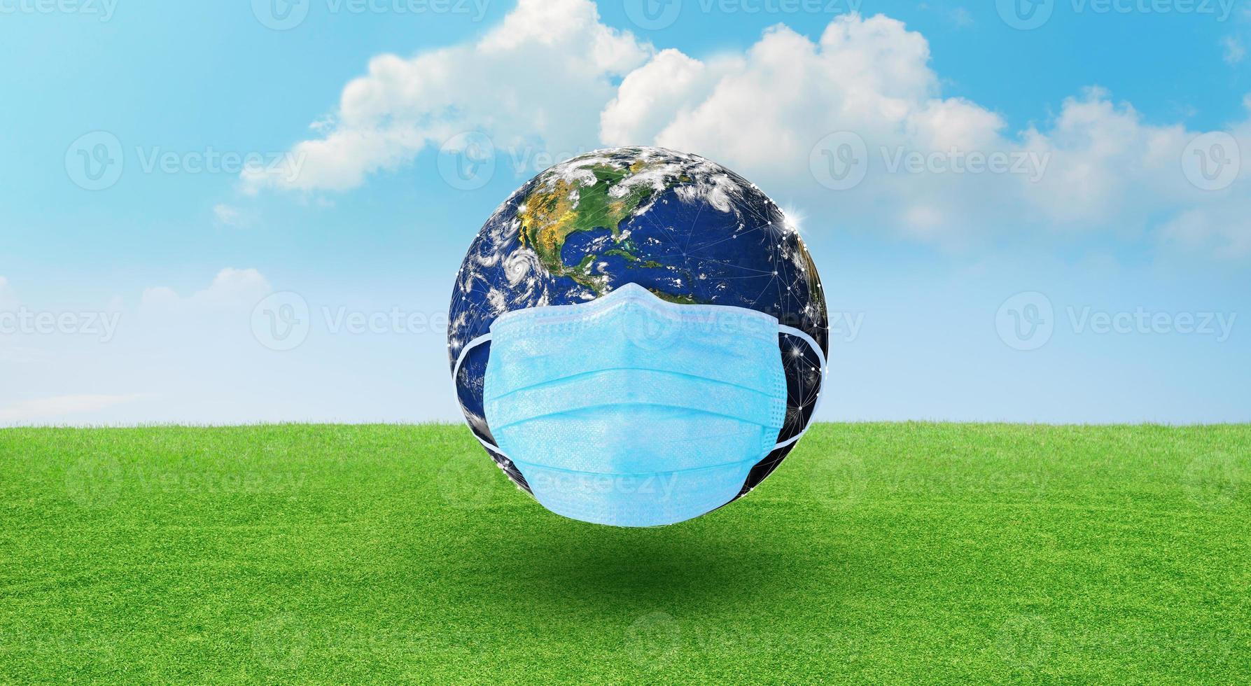 World Corona virus or COVID-19 attack and Earth Day concept. photo