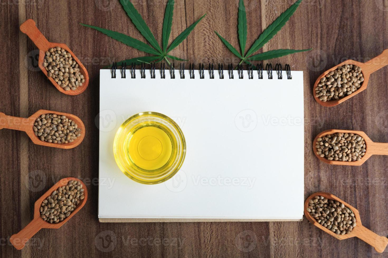 Cannabis oil and a spoon with seeds framed. photo