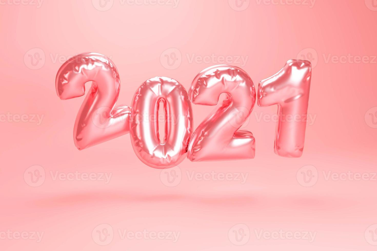 2021 Happy New Year. Holiday 3d Party of bollon metallic pink color photo