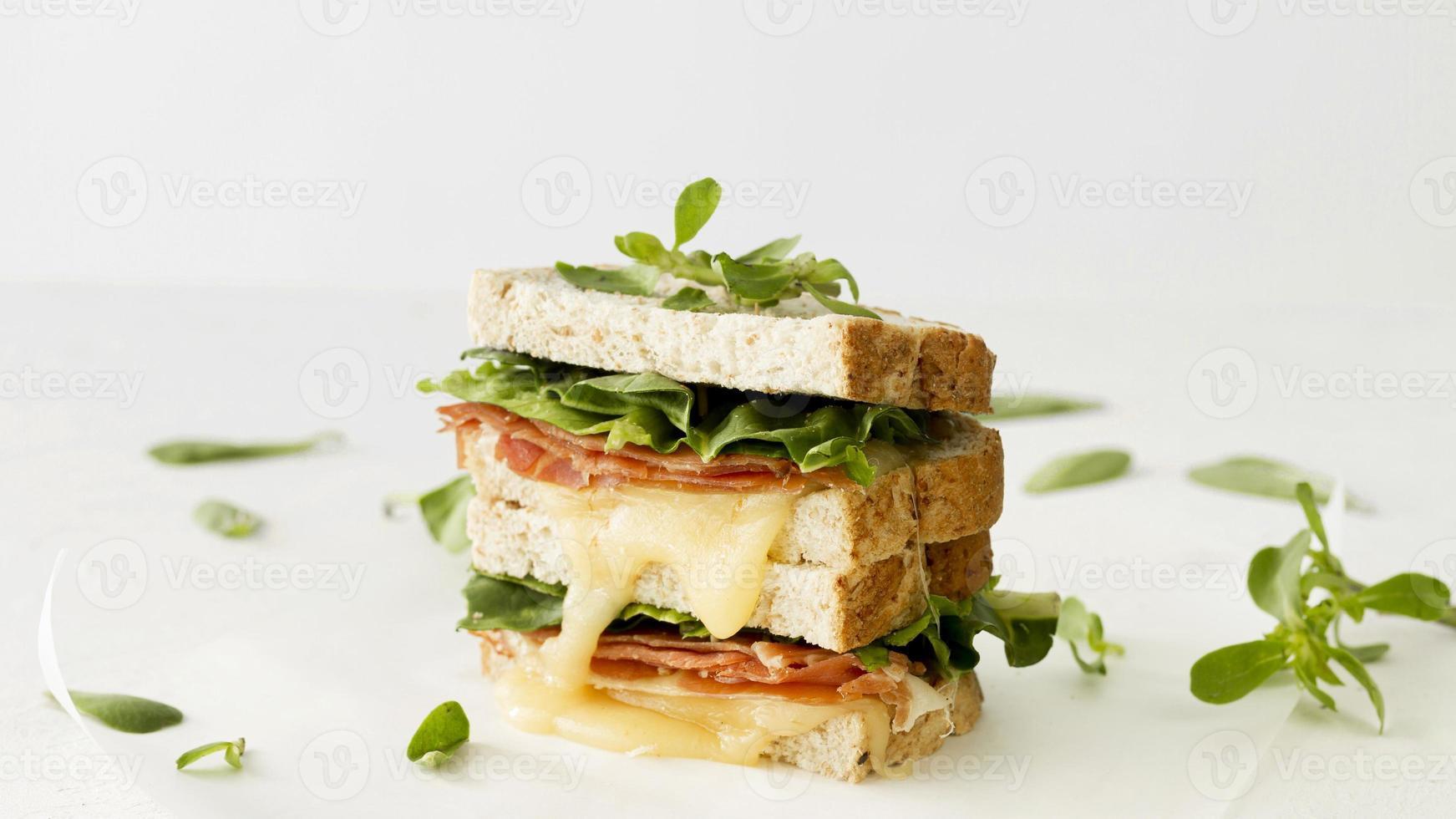 tostadas frescas con queso y verduras foto