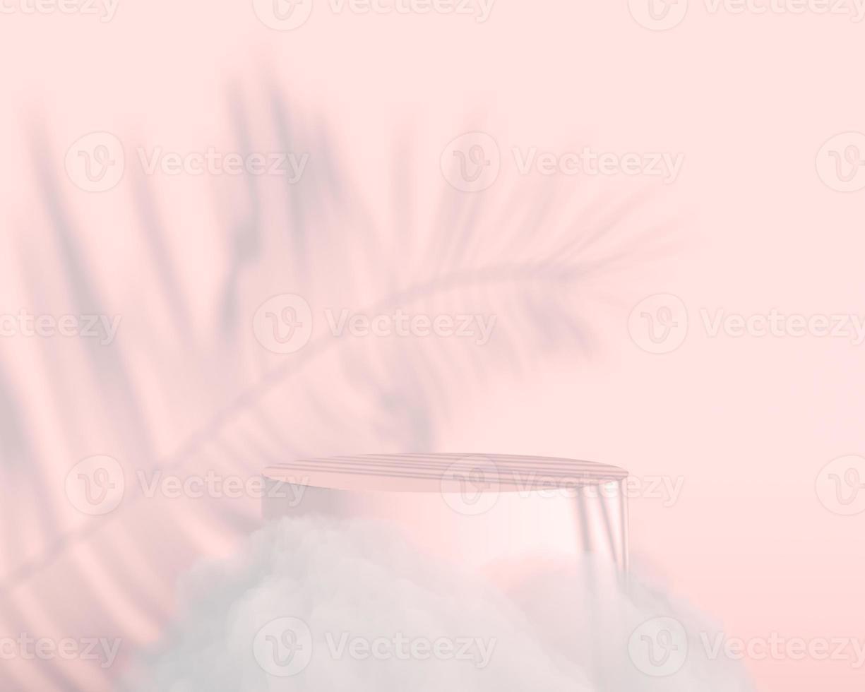 renderizado 3d de fondo con podio y escena de nube mínima, fondo de visualización de producto mínimo. foto