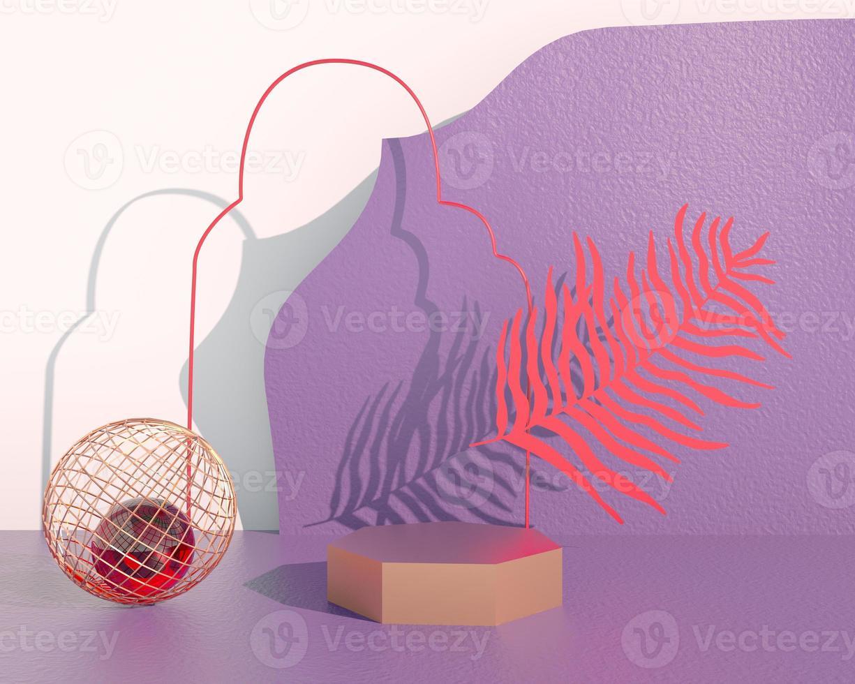 Podio de exhibición de productos decorado con hojas sobre fondo pastel, ilustración 3d foto