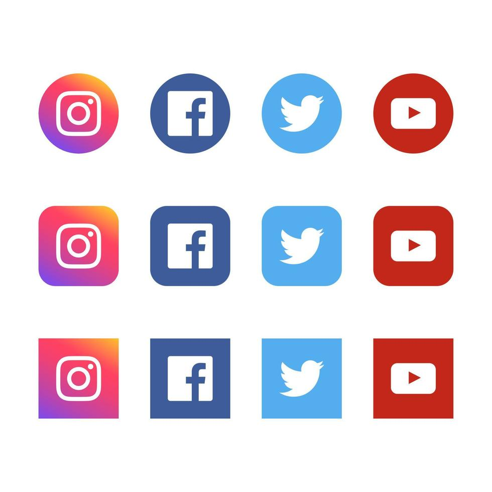Social media instagram facebook Twitter and Youtube icons set vector
