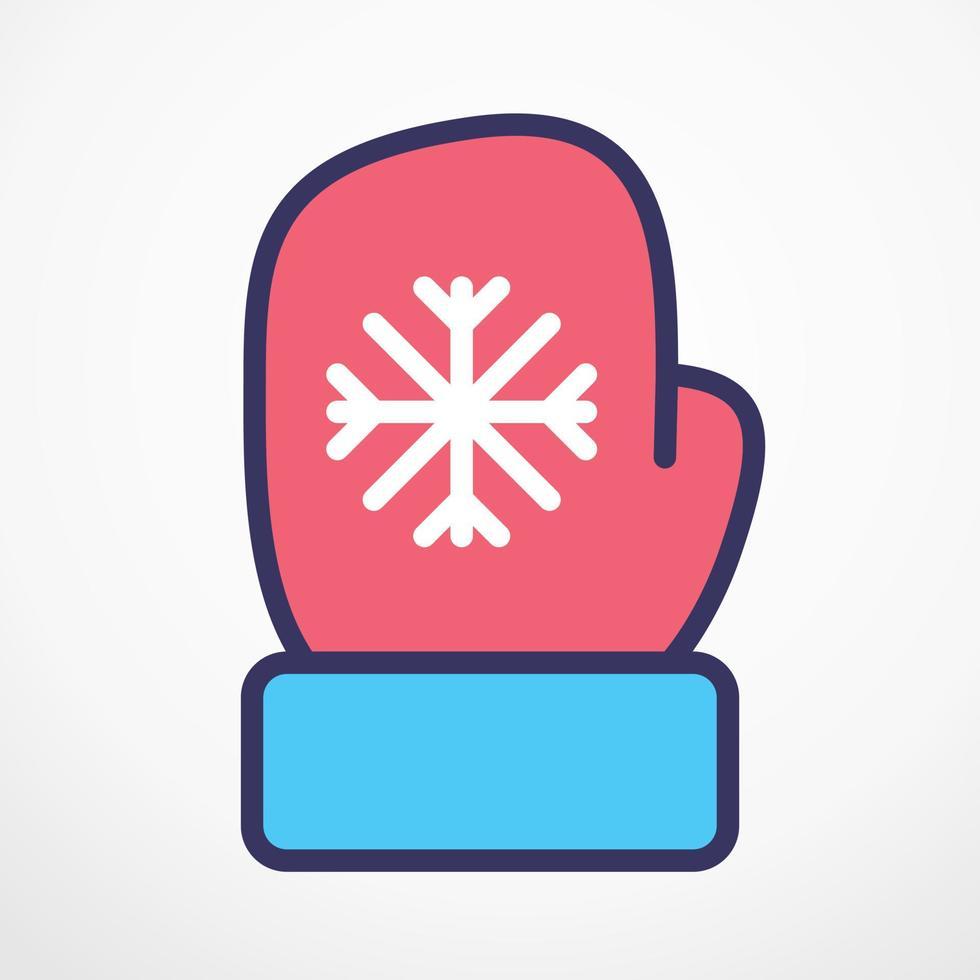 Christmas Glove flat line Vector illustration.