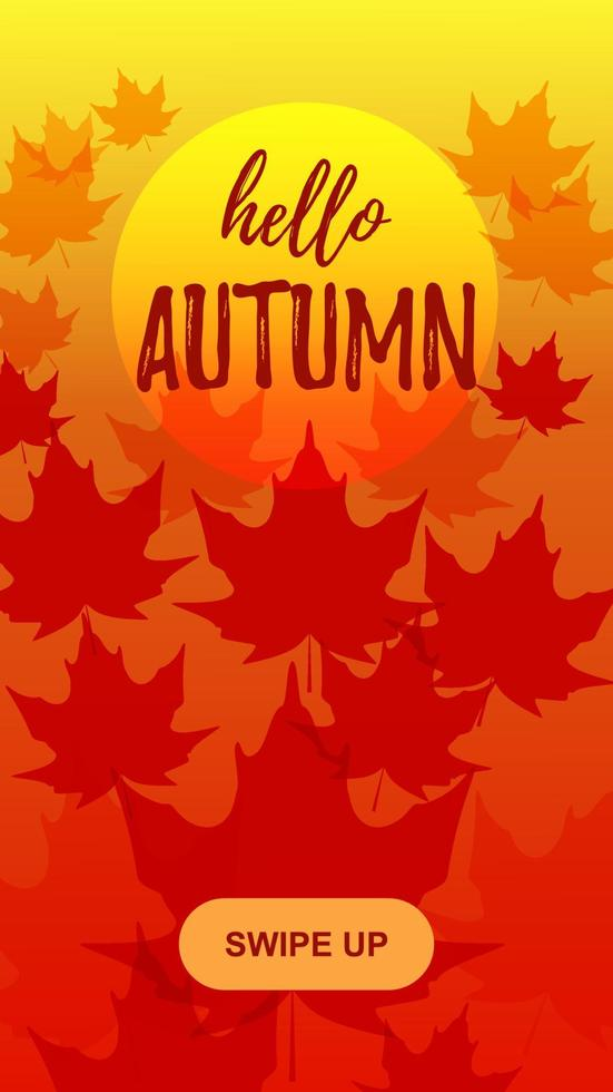 Autumn vertical design for social media stories with maple leaves. Place for text. Vector illustration