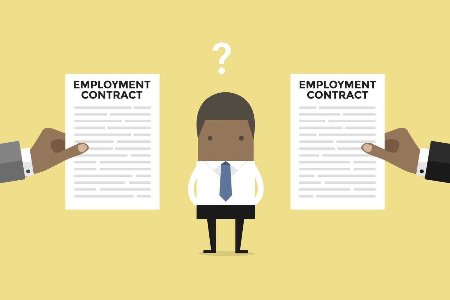 African businessman with two employment contract offer from two companies. vector