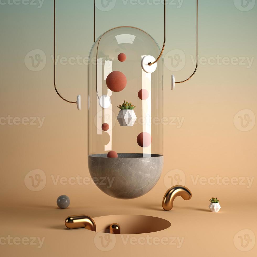 Representación 3d del arte de la forma del surrealismo abstracto foto