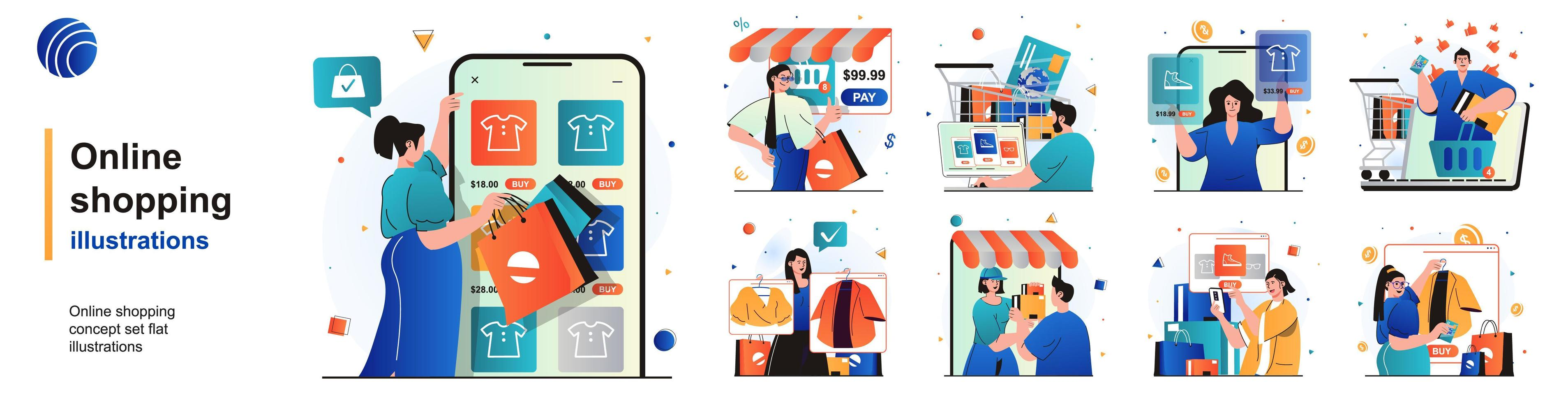 Online shopping isolated set. Customers choose and pay for purchases on site. People collection of scenes in flat design. Vector illustration for blogging, website, mobile app, promotional materials.