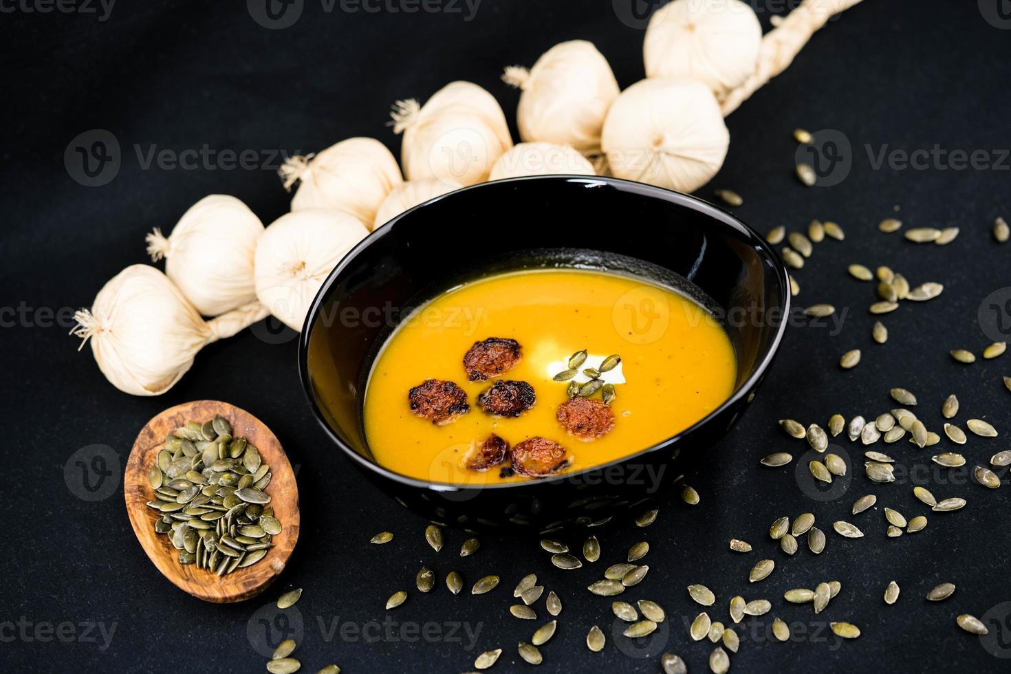 sopa de naranja calabaza hokkaido cucurbita maxima foto