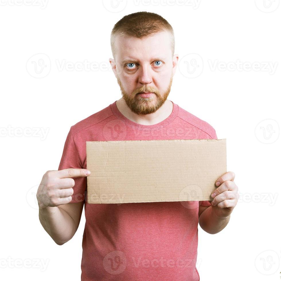hombre con un cartel en la mano foto