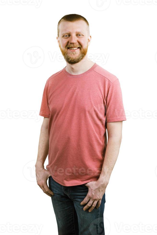 hombre divertido con una camisa rosa foto