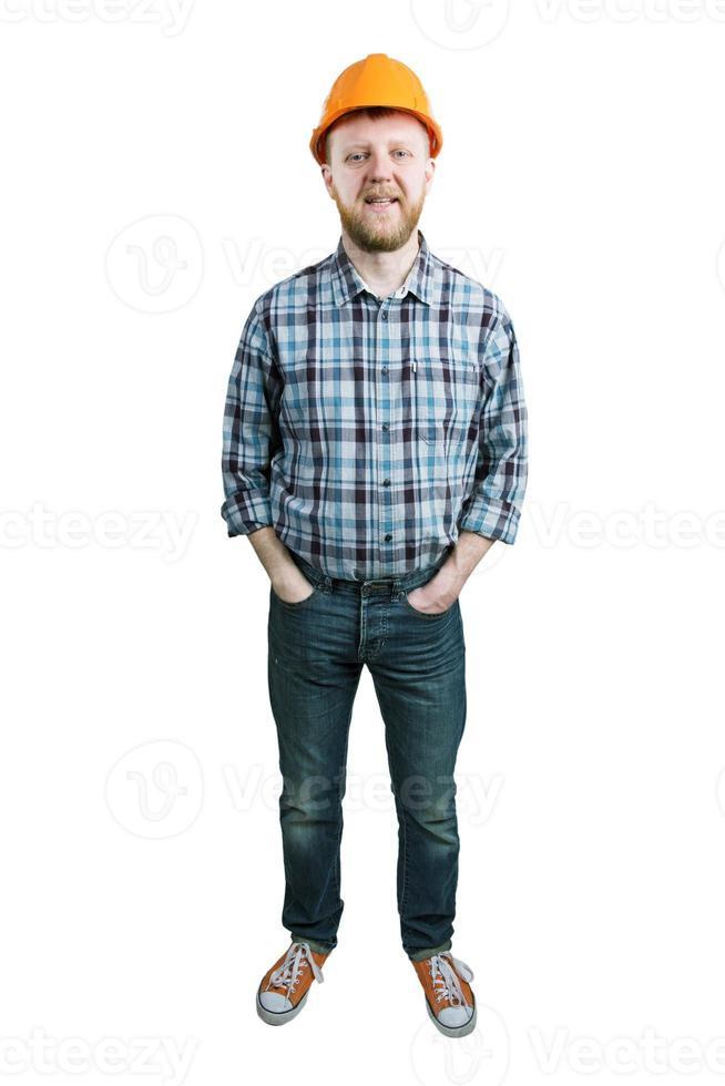 hombre en un casco de construcción foto