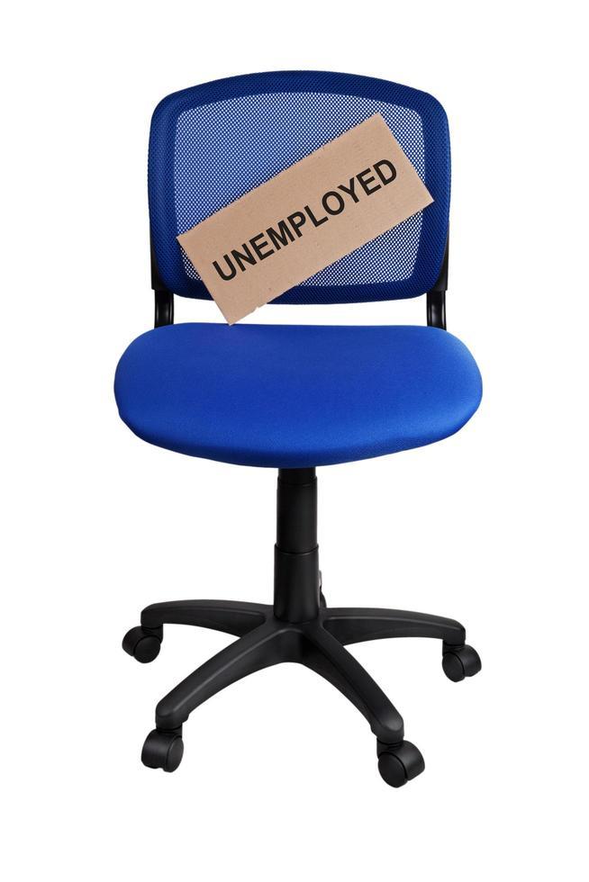 Palabra escrita en la placa desempleados foto
