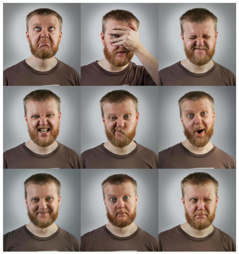 Retratos de hombres con diferentes emociones. foto