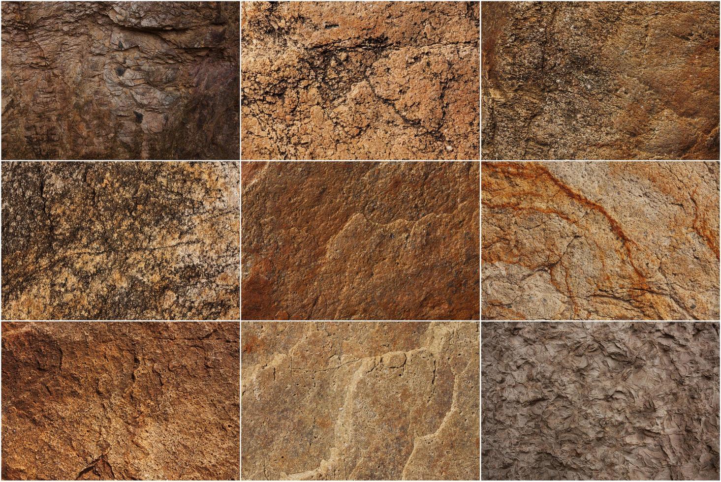 Conjunto de superficies de piedra de diferentes colores. foto