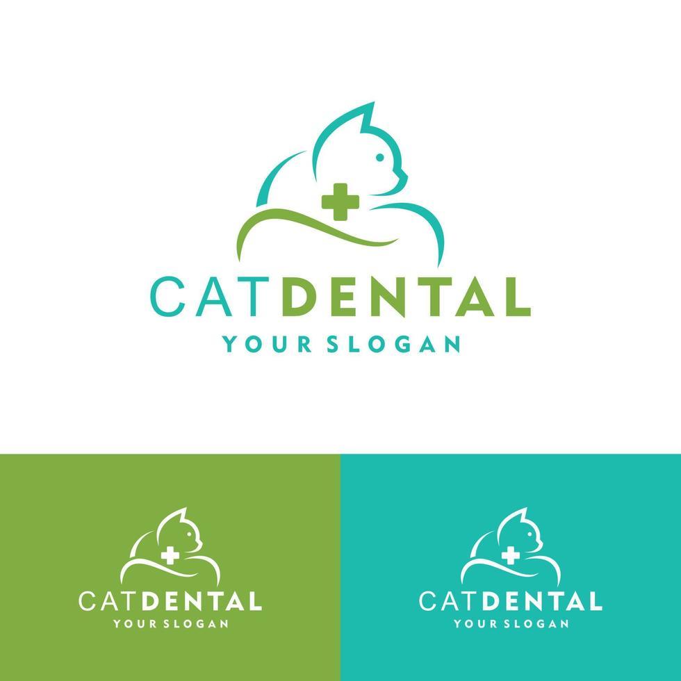 Animal Pet Dental Care with Cat logo vector icon illustration design