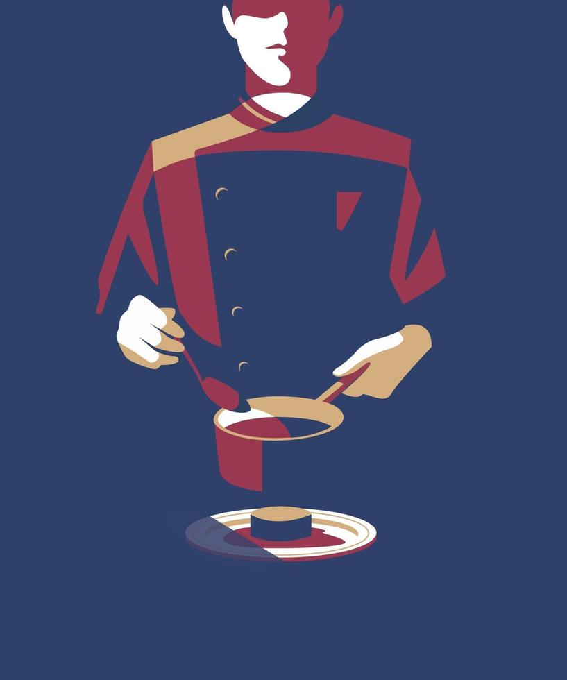 hotel restaurant waiter pouring sauce on a plate vector