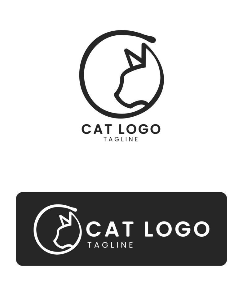 Simple and Minimalis Black Cat Logo Icon Free Vector