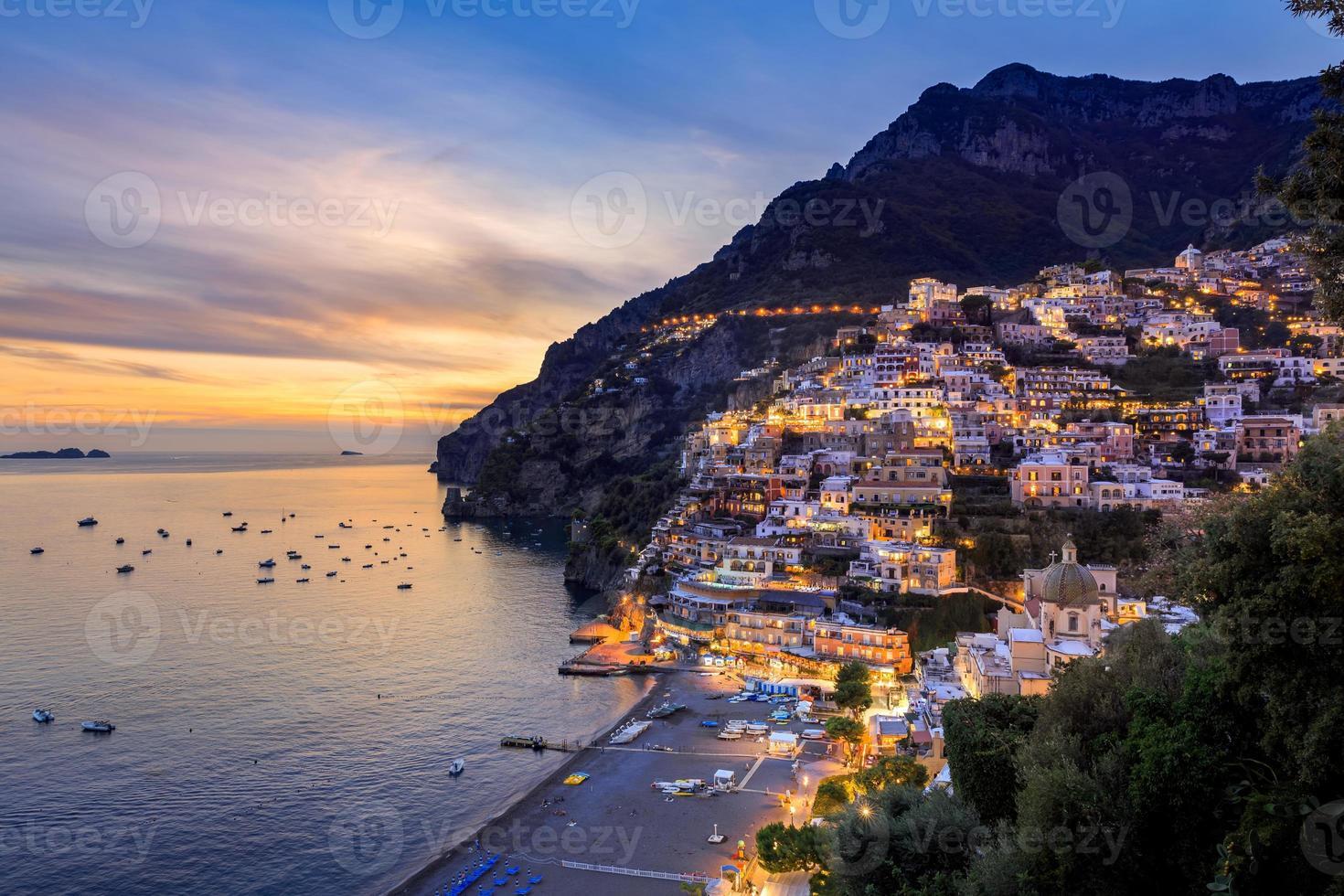 Positano cityscape skyline at twilight photo