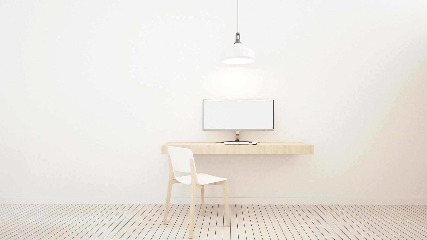 Tono blanco del espacio de trabajo en casa o apartamento. foto