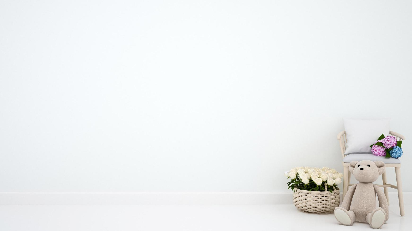osito de peluche con sillón y flor para obras de arte foto