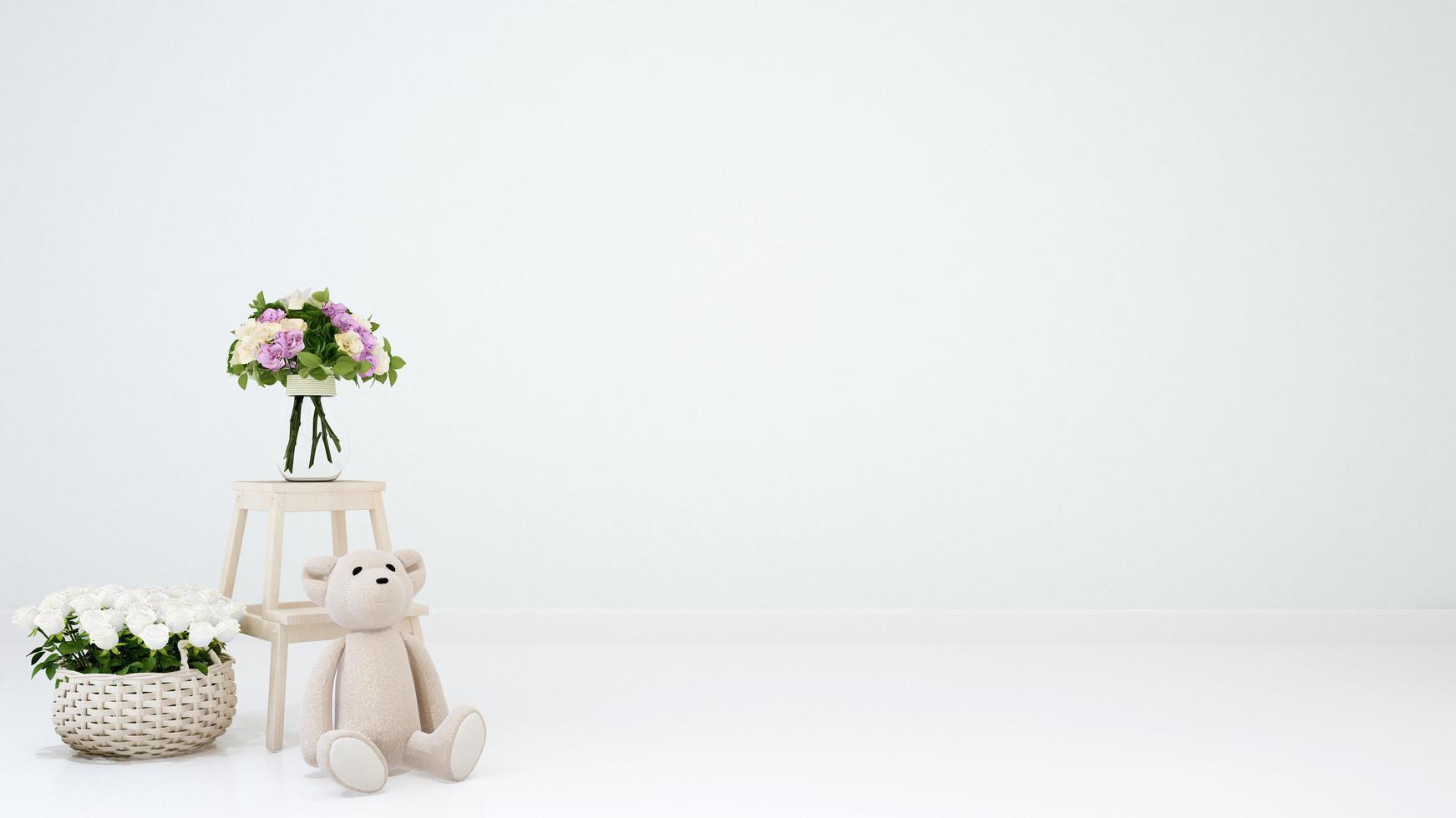 osito de peluche y flor para obras de arte foto
