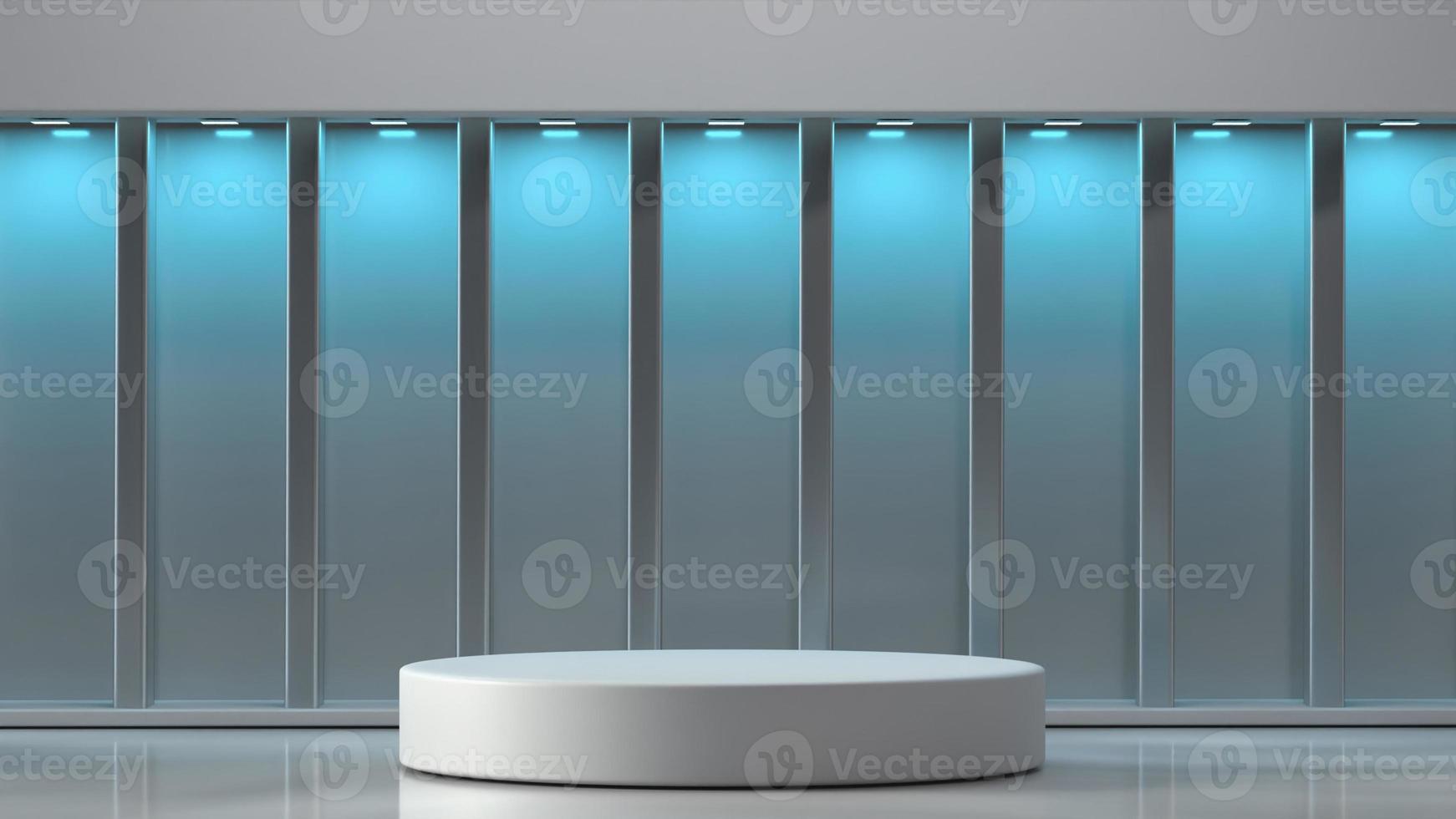 3d rendered podium in interior background photo