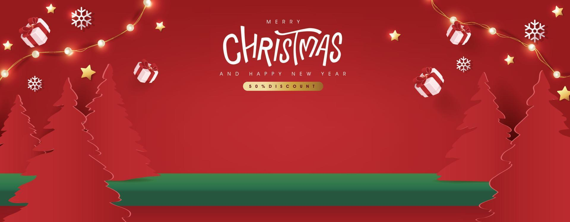 Merry Christmas banner studio table room product display copy space vector