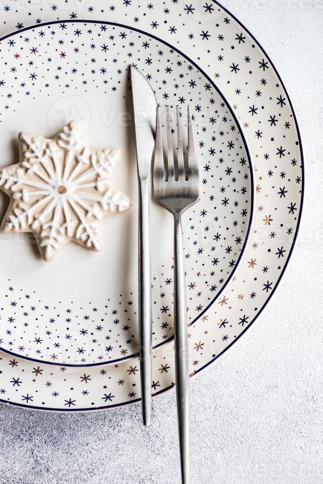 mesa de cena de navidad foto