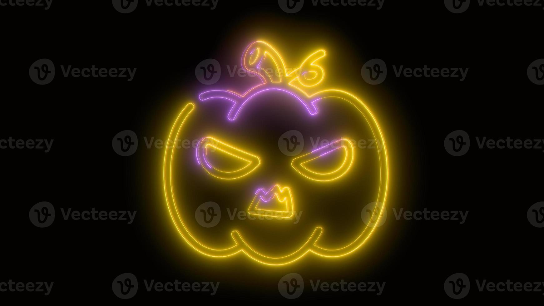 calabaza de halloween de color amarillo neón, emoji, render 3d, foto