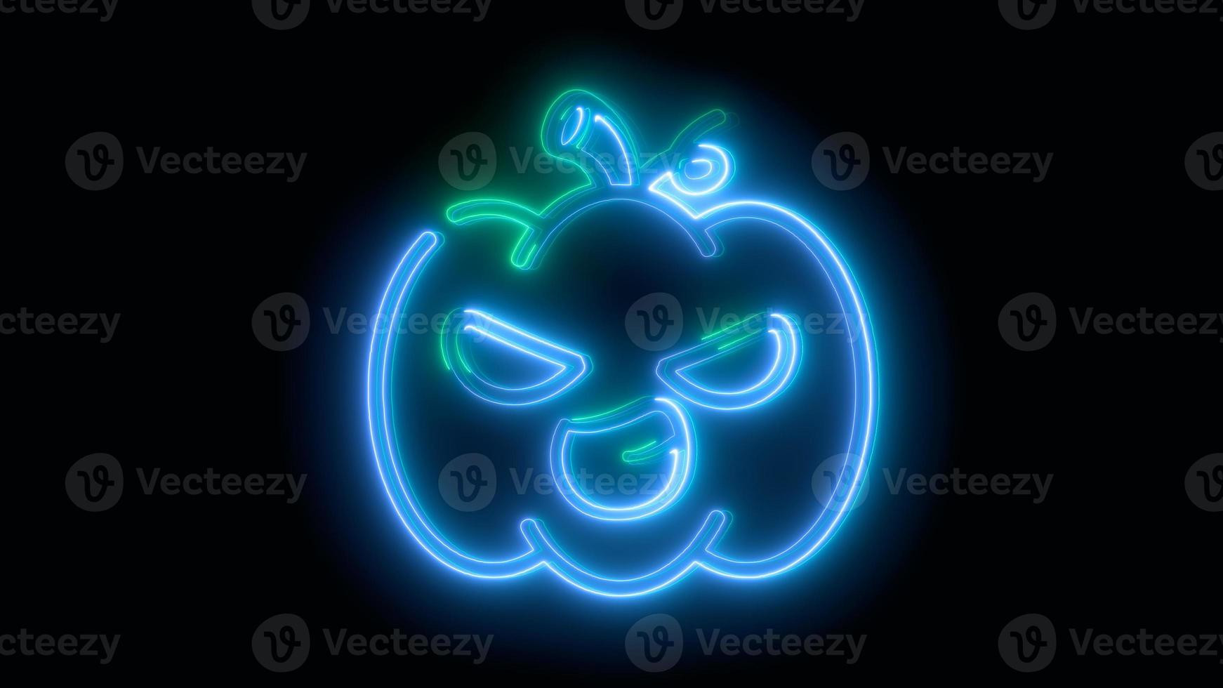 calabaza de halloween azul neón, emoji, render 3d, foto