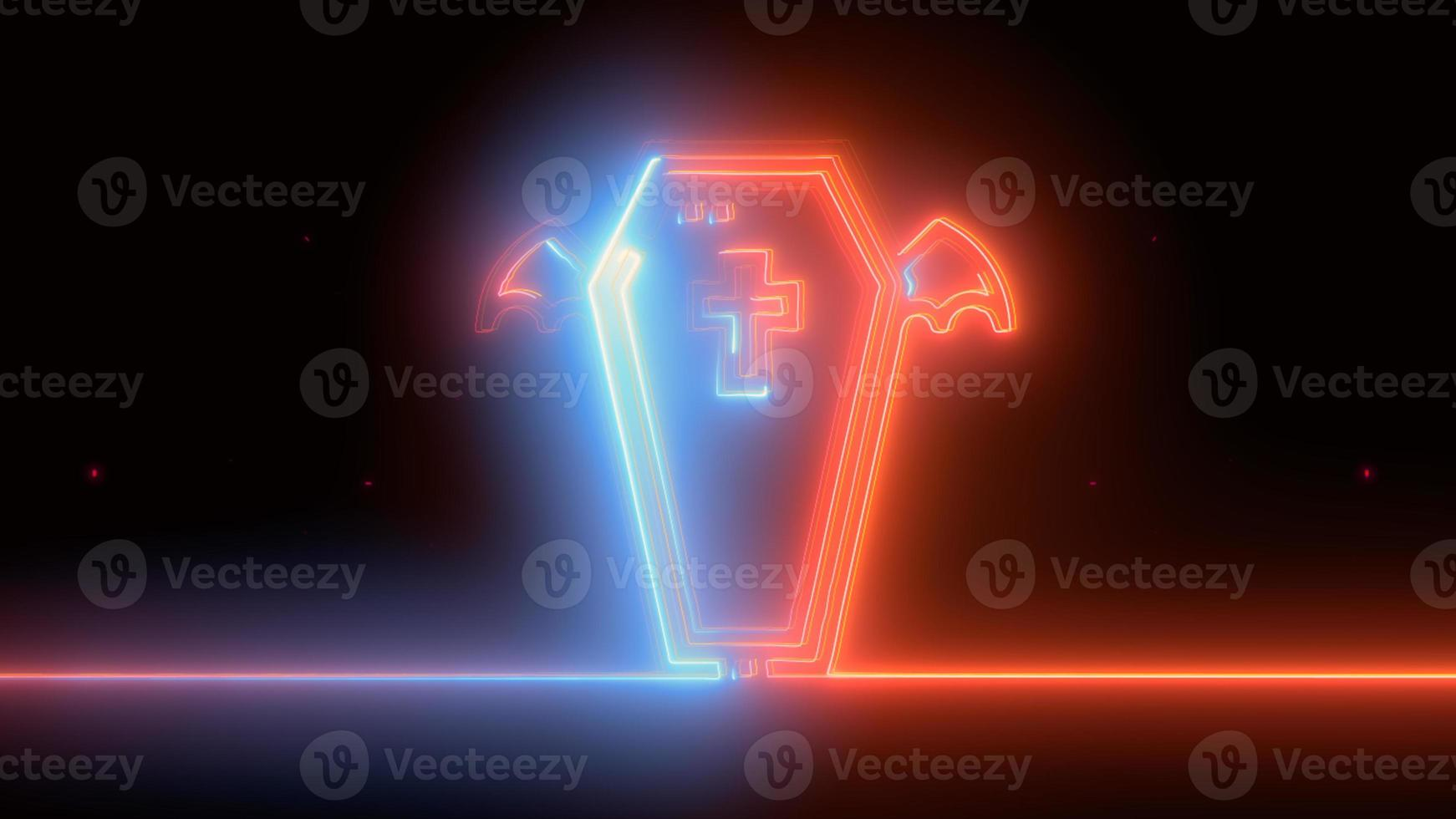 azul neón, ataúd rojo de halloween, emoji, render 3d, foto