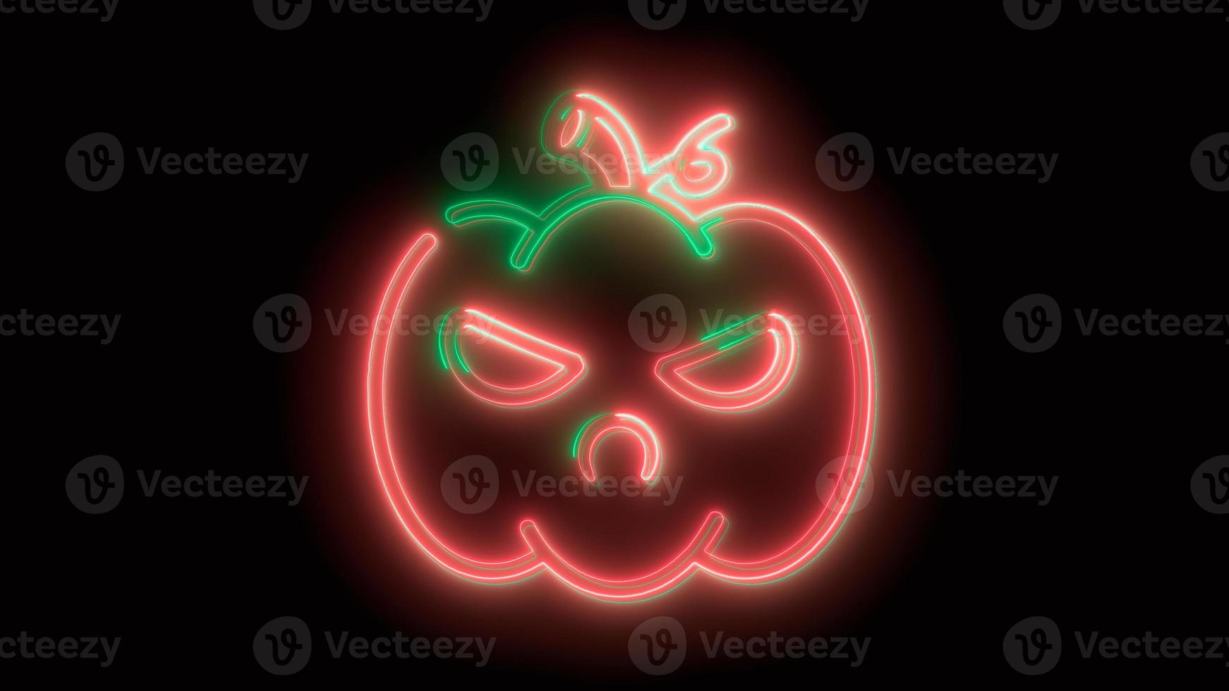 calabaza de halloween roja neón, emoji, render 3d, foto