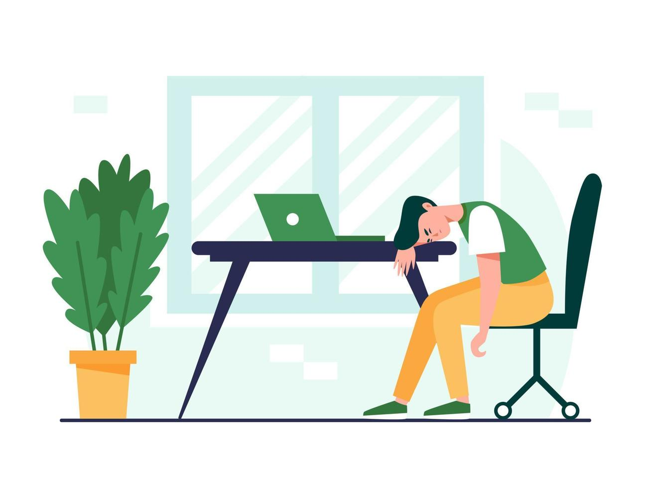 Exhausted man sitting at the table. Professional burnout concept illustration. Frustrated, tired office worker, deadline, mental health problem. Flat vector illustration.