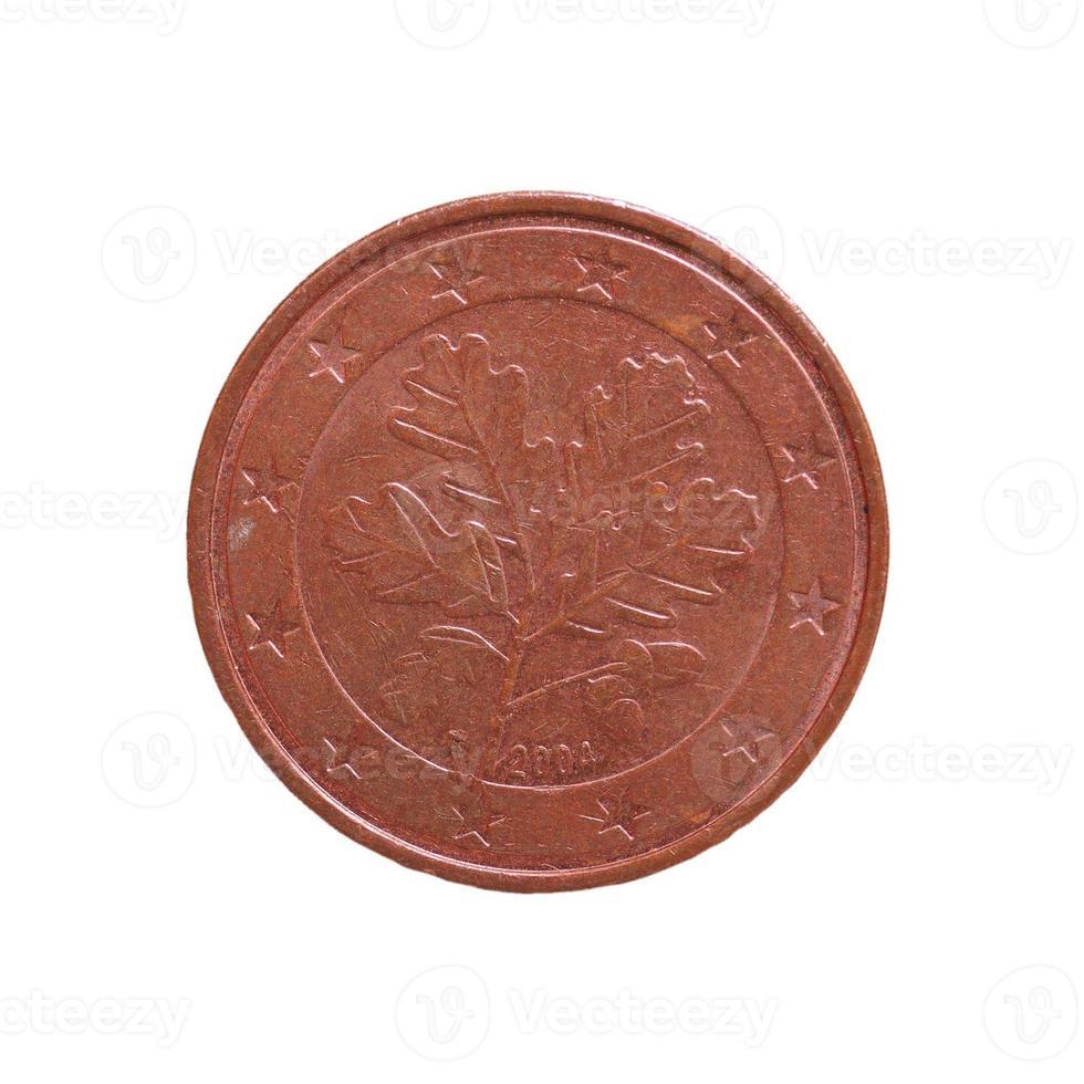 Moneda de 5 centavos, unión europea aislado sobre blanco foto