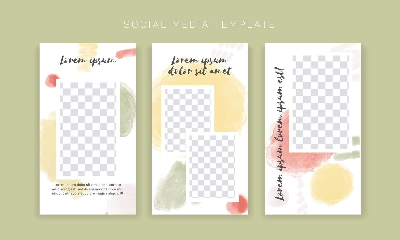Vector template for social media and web design. Abstract watercolor brushed shapes, hand drawn