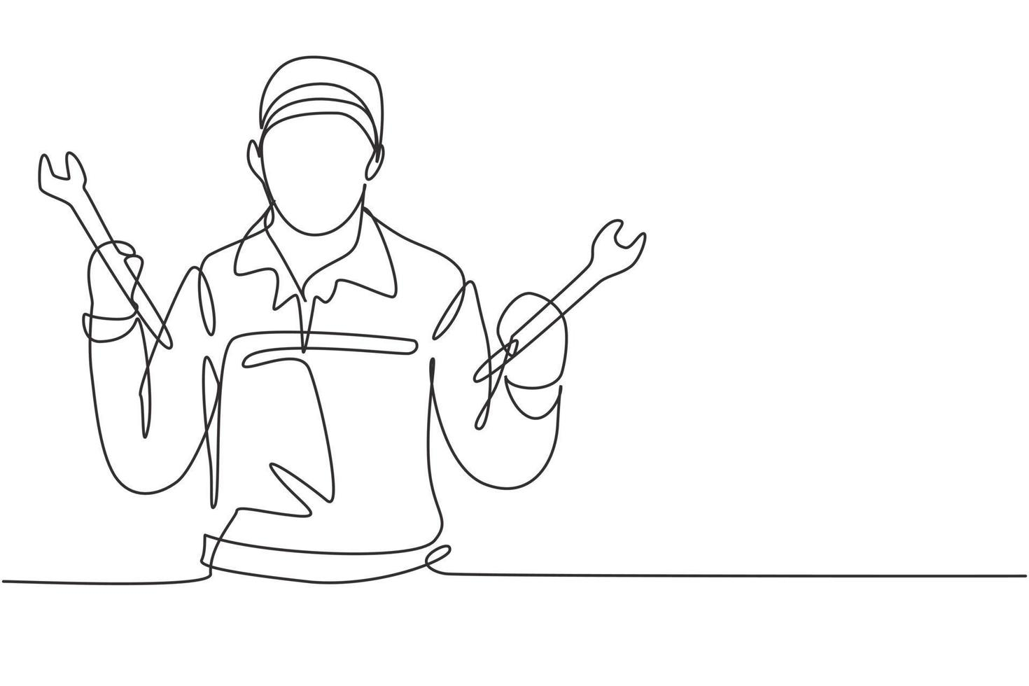 Single one line drawing mechanic with celebrate gesture and holding wrench works to fix broken car engine in garage. Success business. Modern continuous line draw design graphic vector illustration