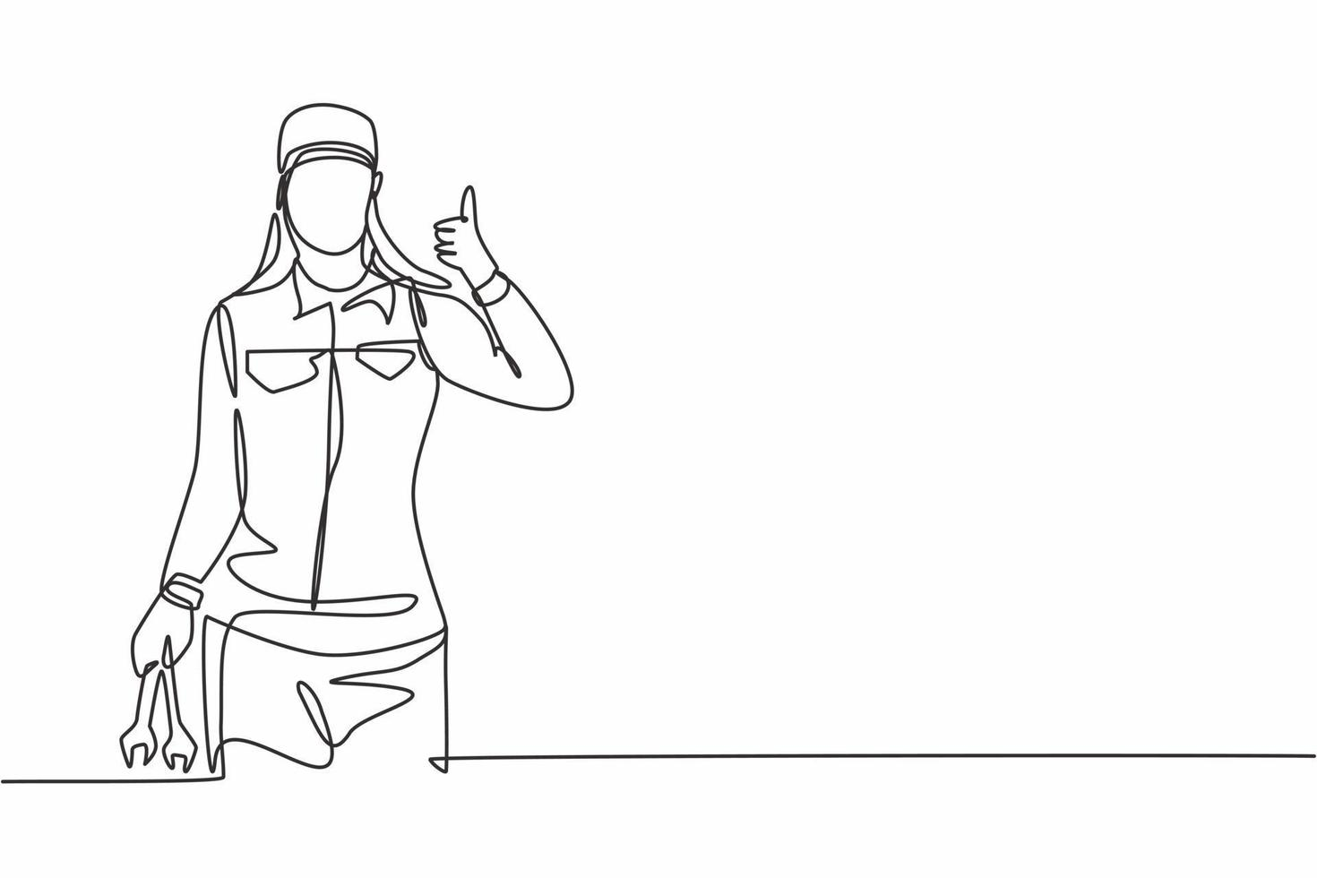 Single one line drawing of female mechanic with a thumbs-up gesture and holding the wrench works to fix a broken car engine in garage. Modern continuous line draw design graphic vector illustration