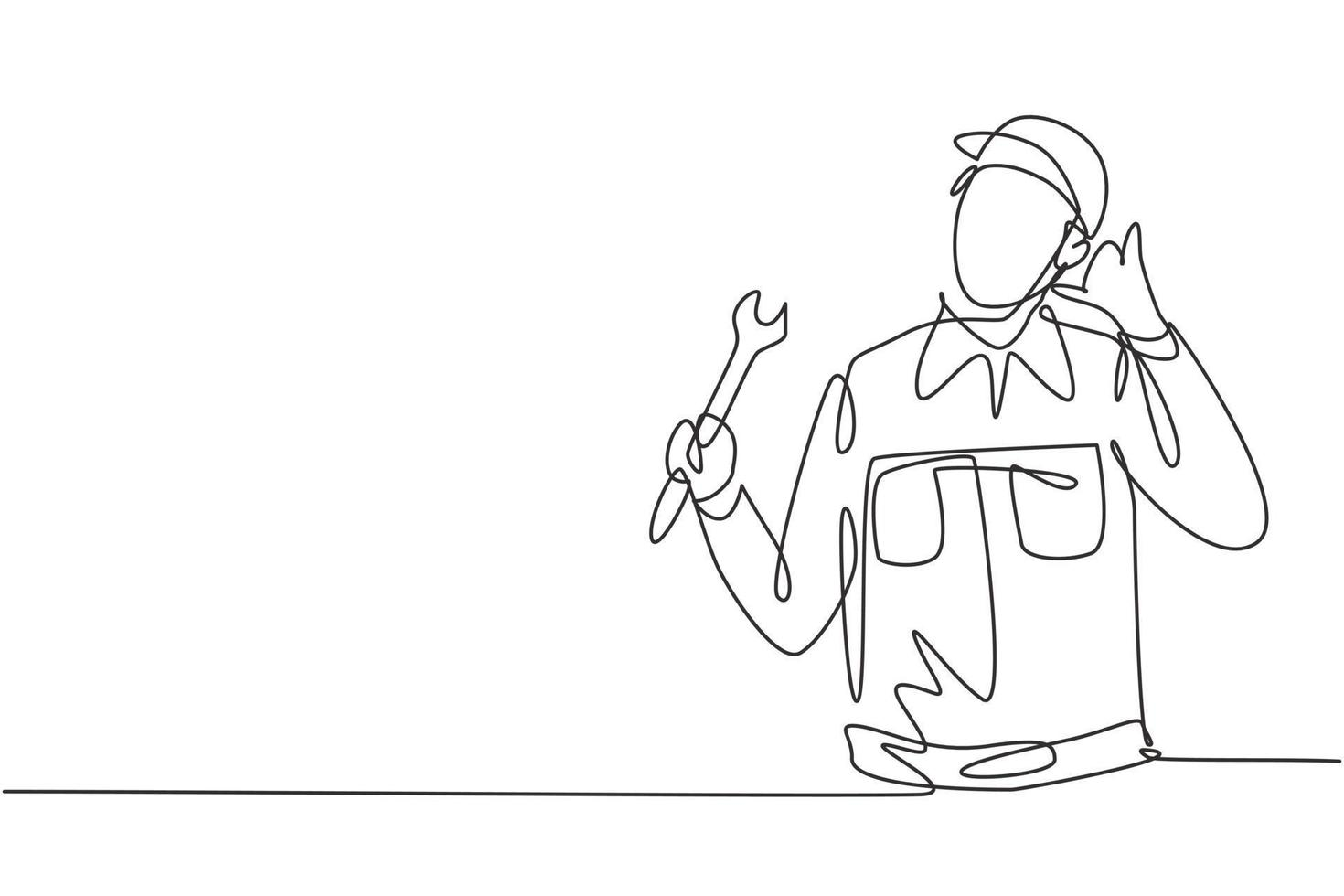 Continuous one line drawing mechanic with call me gesture and holding wrench works to fix broken car engine in garage. Success business concept. Single line draw design vector graphic illustration