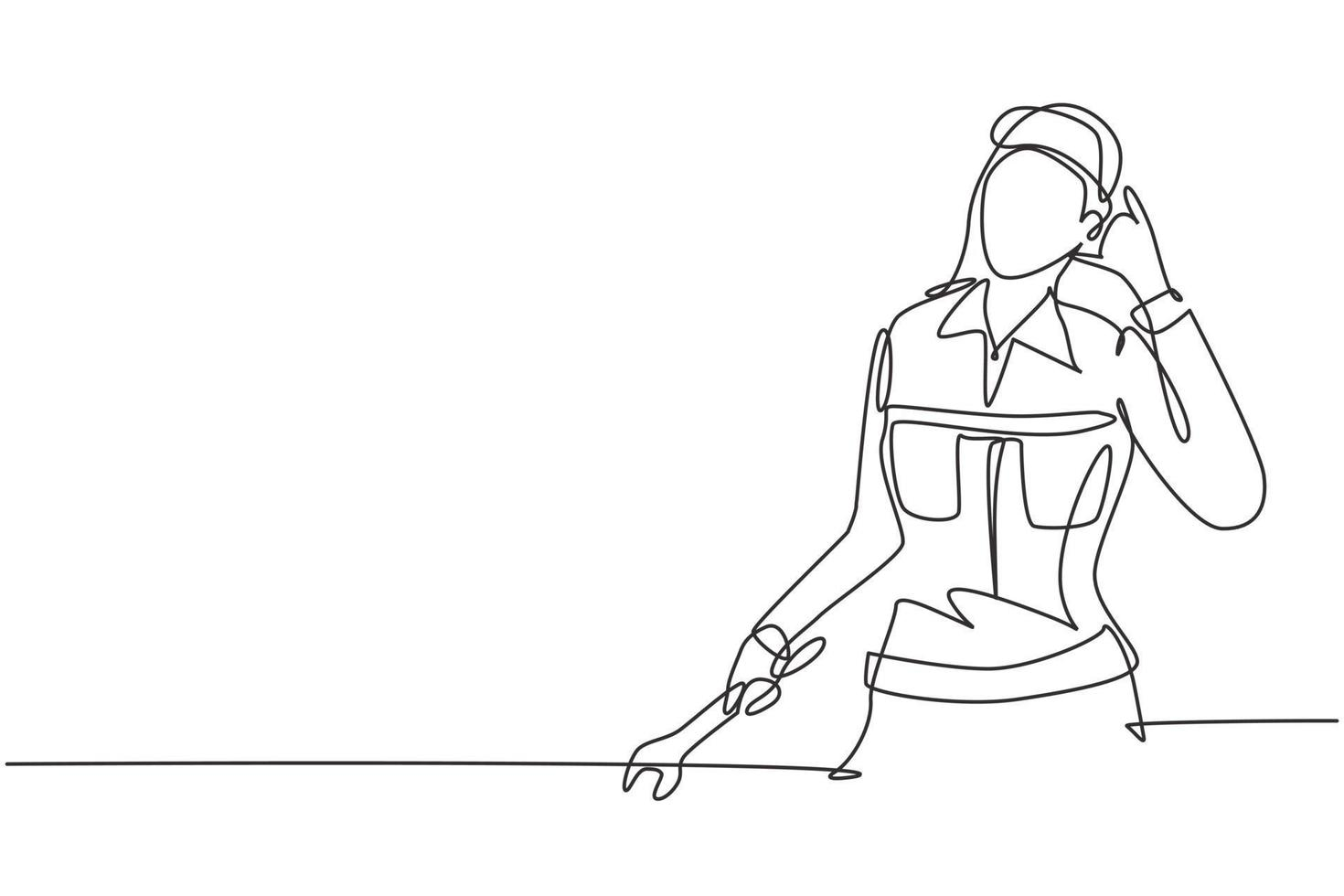 Continuous one line drawing female mechanic with call me gesture and holding wrench works to fix broken car engine in garage. Success business. Single line draw design vector graphic illustration