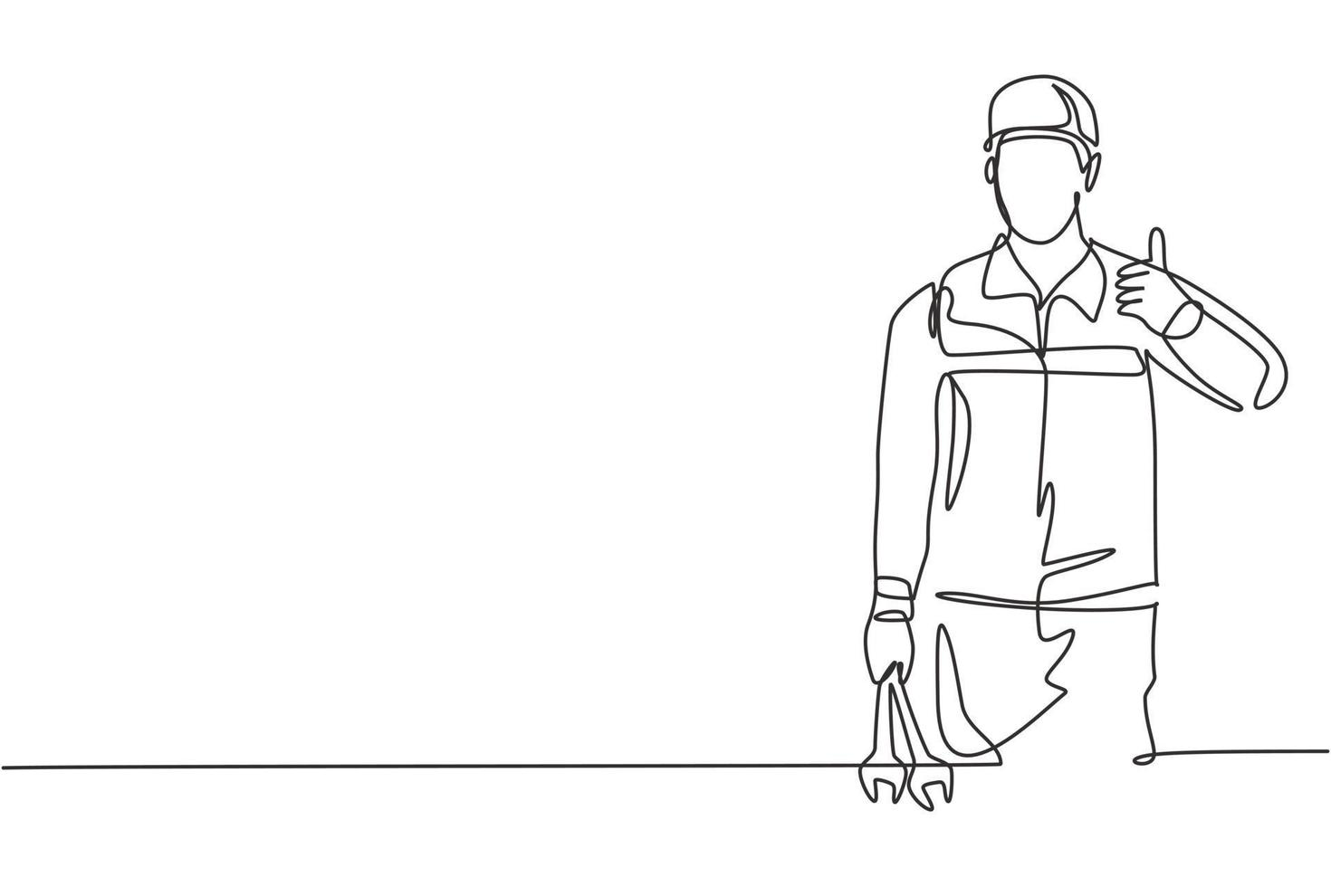 Single continuous line drawing mechanic with the gesture of lifting his thumb and holding the wrench works to fix a broken car engine in the garage. One line draw graphic design vector illustration.