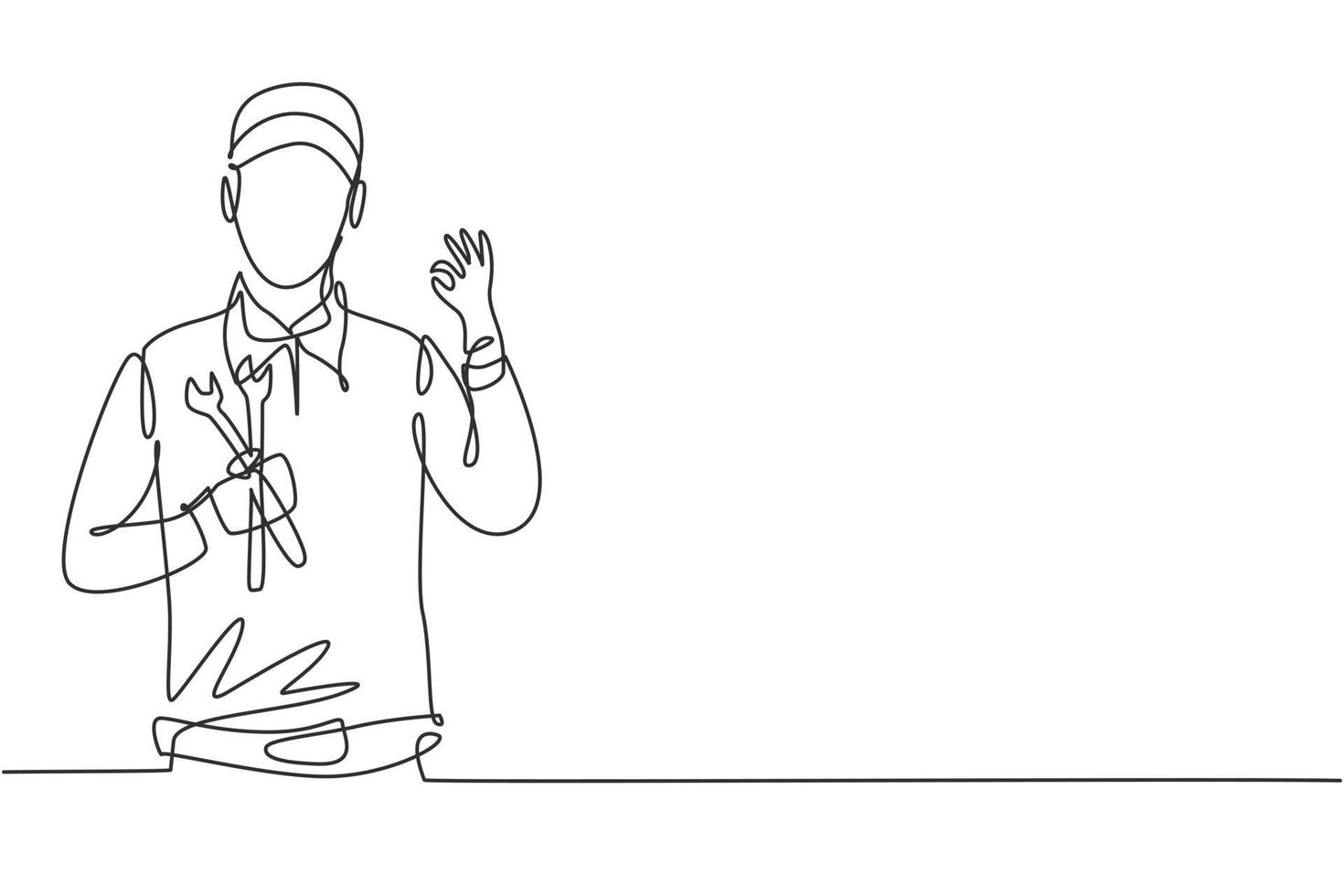 Continuous one line drawing male mechanic with gesture okay and holding wrench works to fix broken car engine in garage. Success business concept. Single line draw design vector graphic illustration